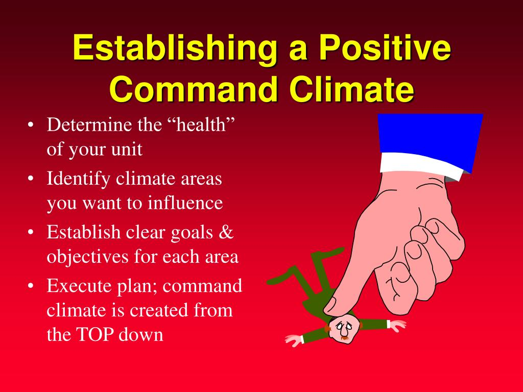 command climate Command climate investigations at an increasing rate, commanders are being  relieved not for findings of any criminal or unethical behavior, but because the.