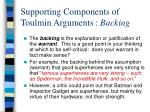 supporting components of toulmin arguments backing
