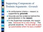 supporting components of toulmin arguments grounds