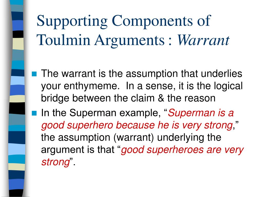 Supporting Components of Toulmin Arguments:
