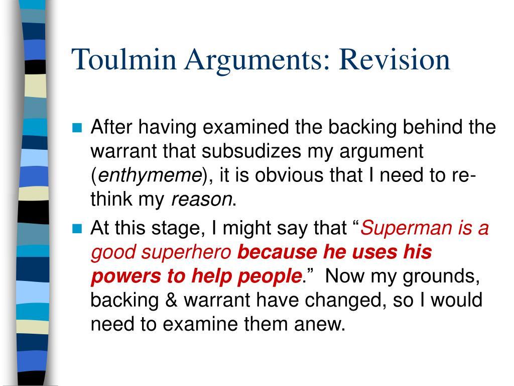 Toulmin Arguments: Revision