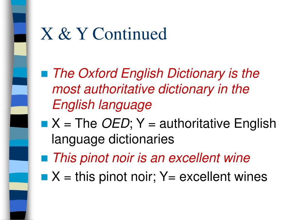X & Y Continued