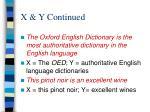x y continued