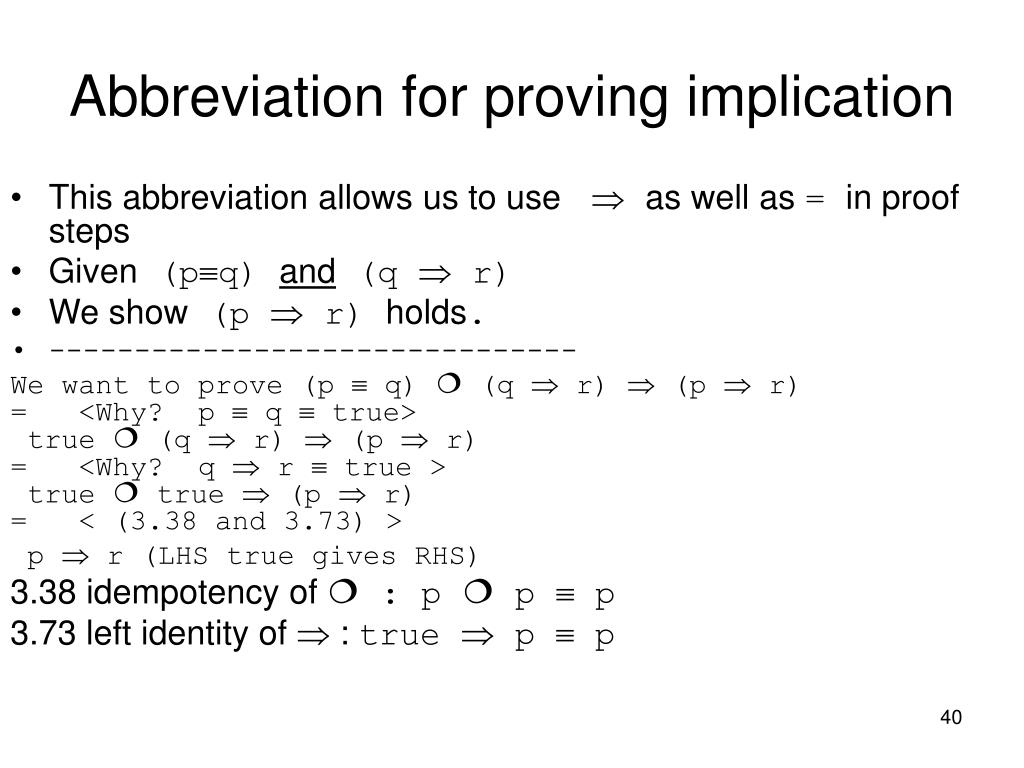 Abbreviation for proving implication