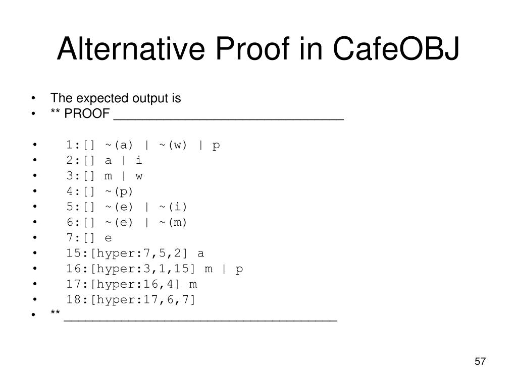 Alternative Proof in CafeOBJ