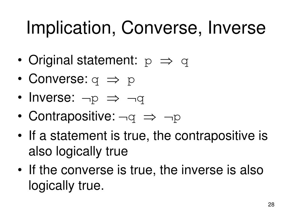 Implication, Converse, Inverse