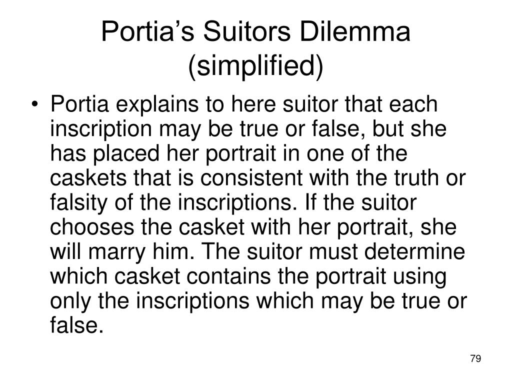 Portia's Suitors Dilemma (simplified)
