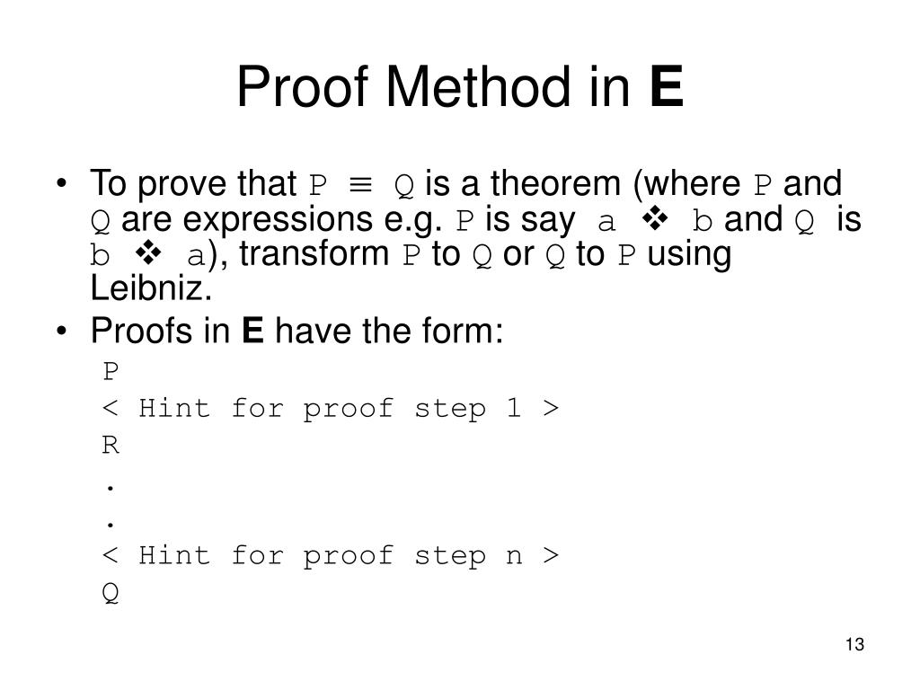 Proof Method in