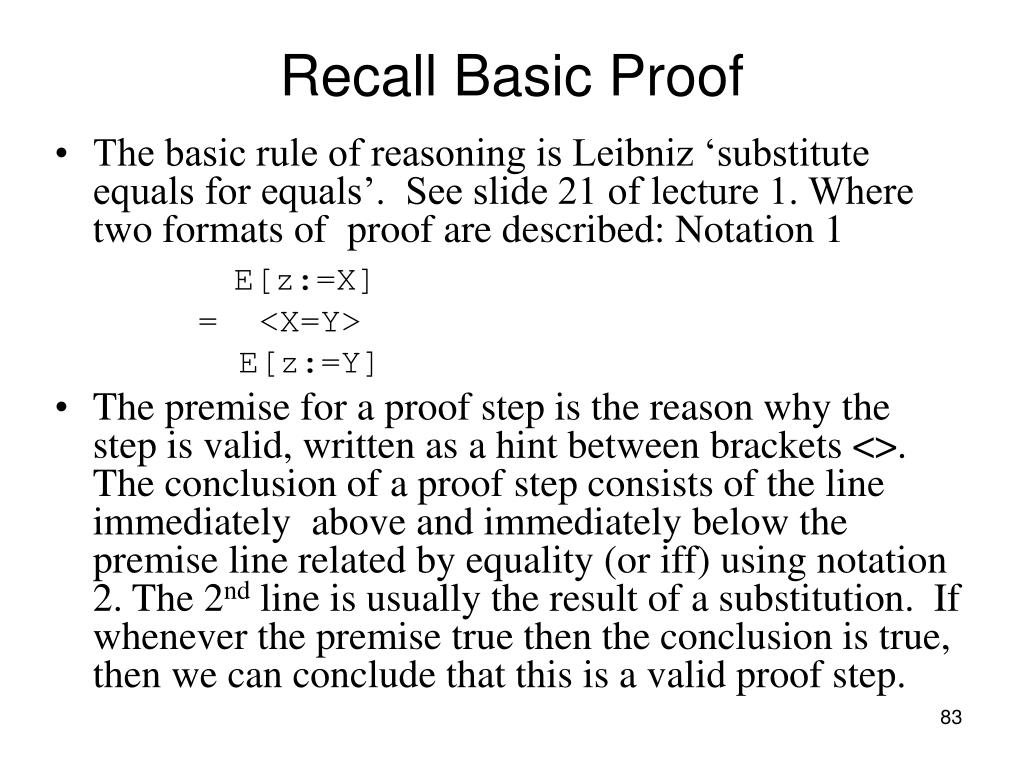 Recall Basic Proof