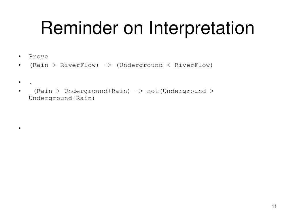 Reminder on Interpretation