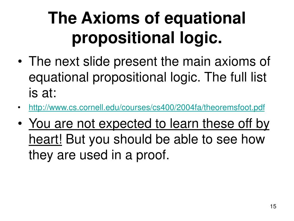 The Axioms of equational propositional logic.