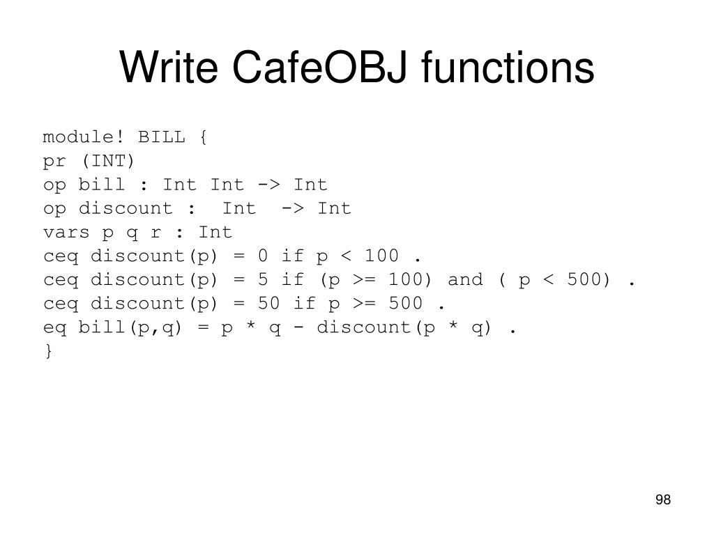 Write CafeOBJ functions