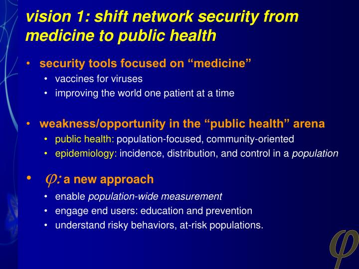 vision 1: shift network security from medicine to public health