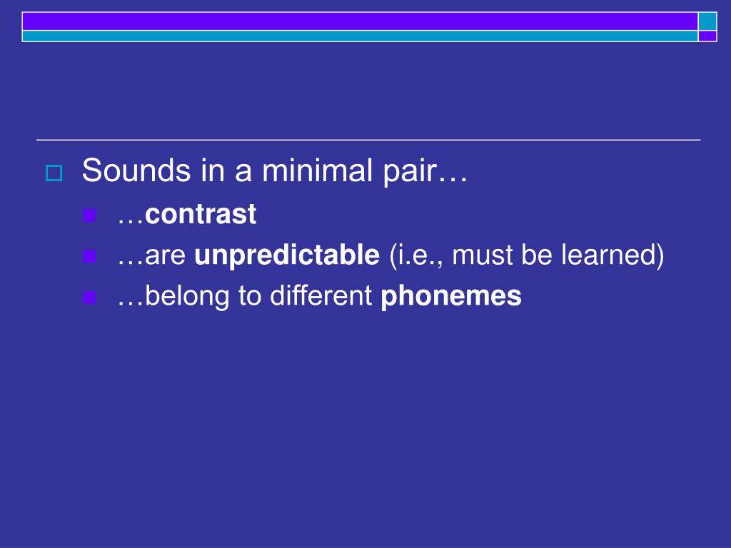 Sounds in a minimal pair…