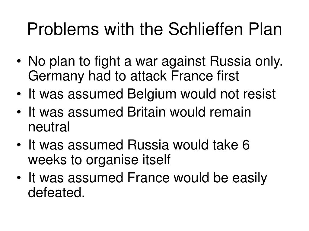 Problems with the Schlieffen Plan