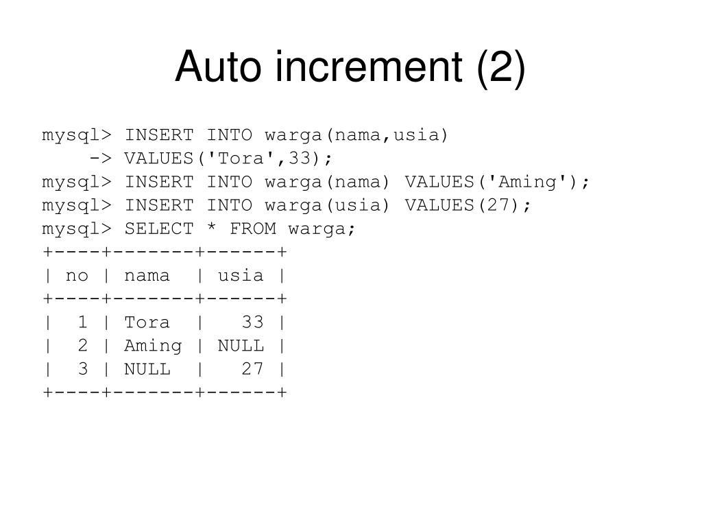 Auto increment (2)