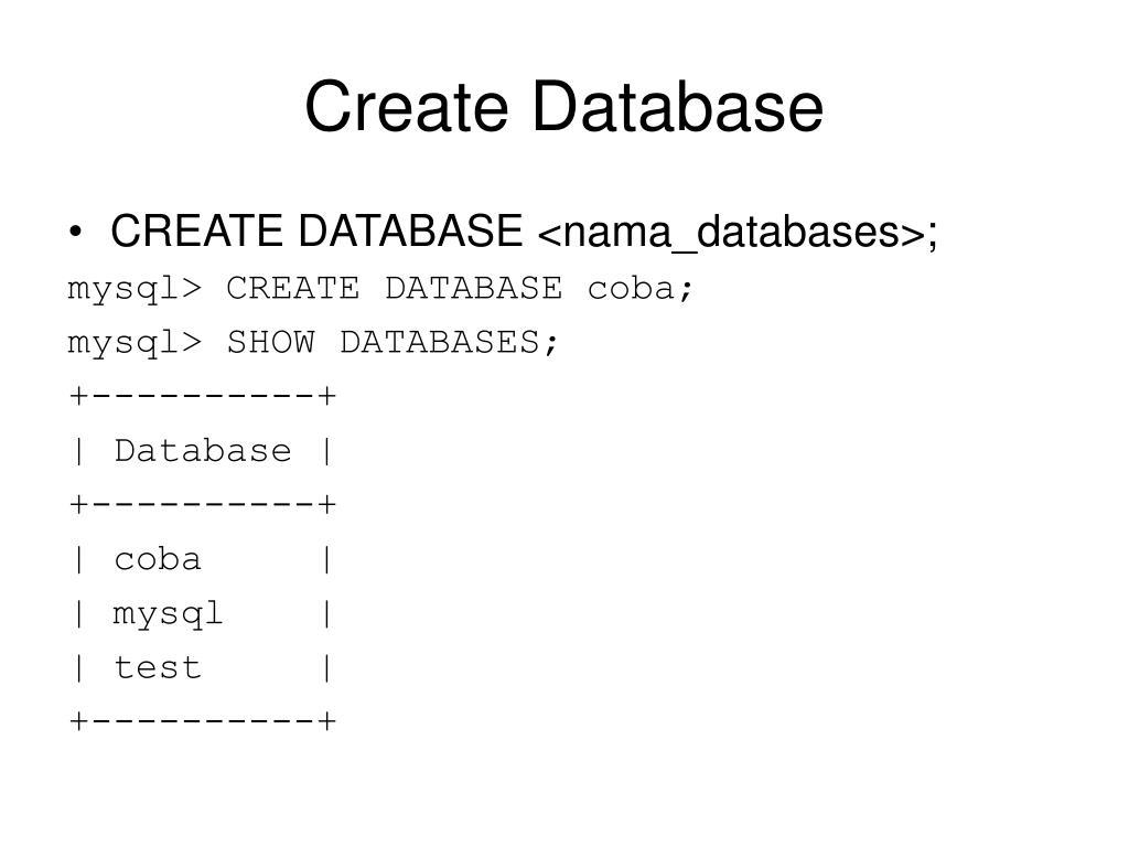 Create Database