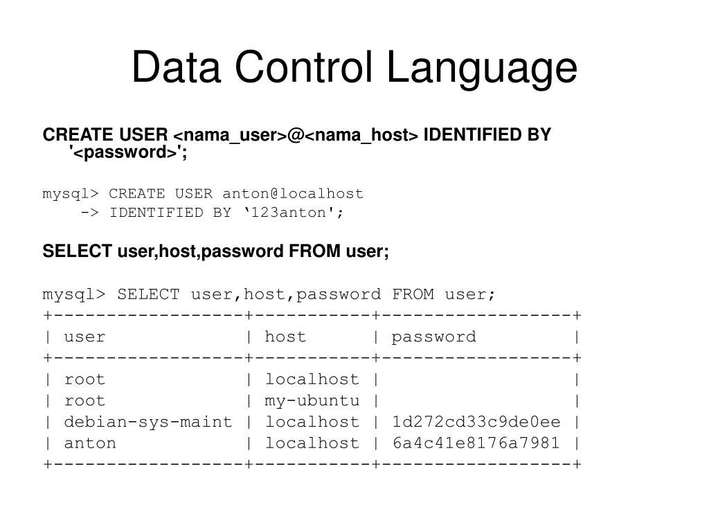Data Control Language