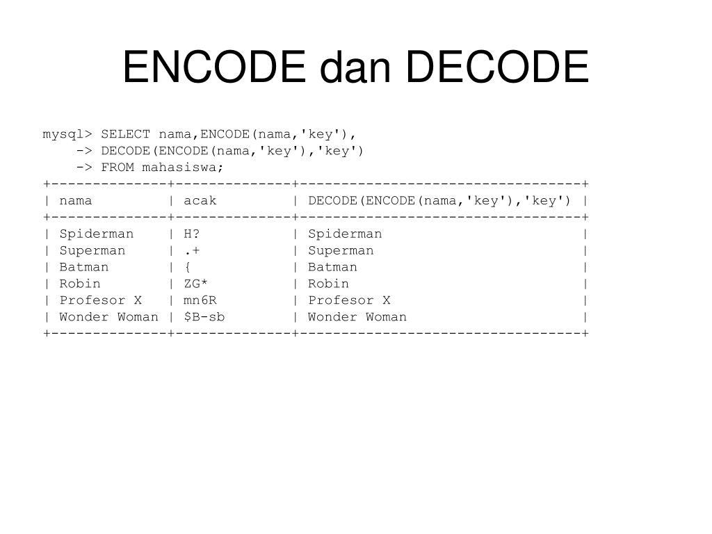 ENCODE dan DECODE