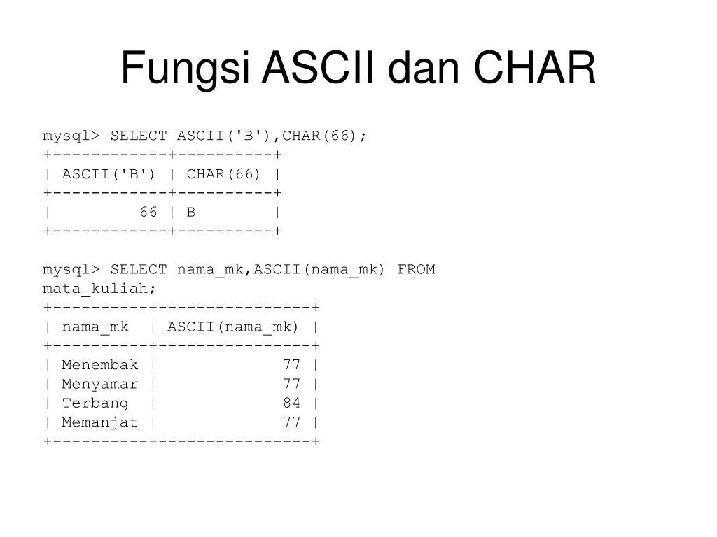 Fungsi ASCII dan CHAR