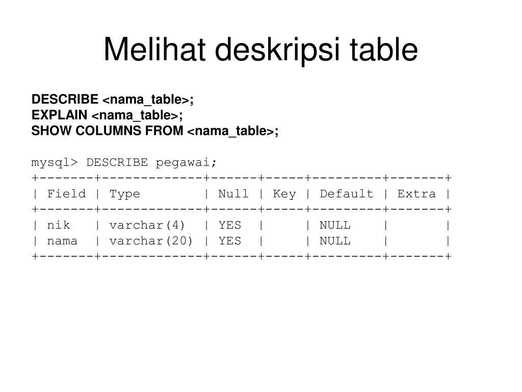 Melihat deskripsi table
