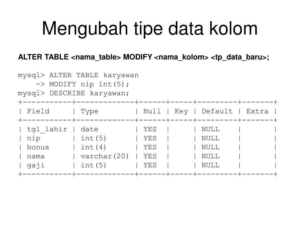 Mengubah tipe data kolom
