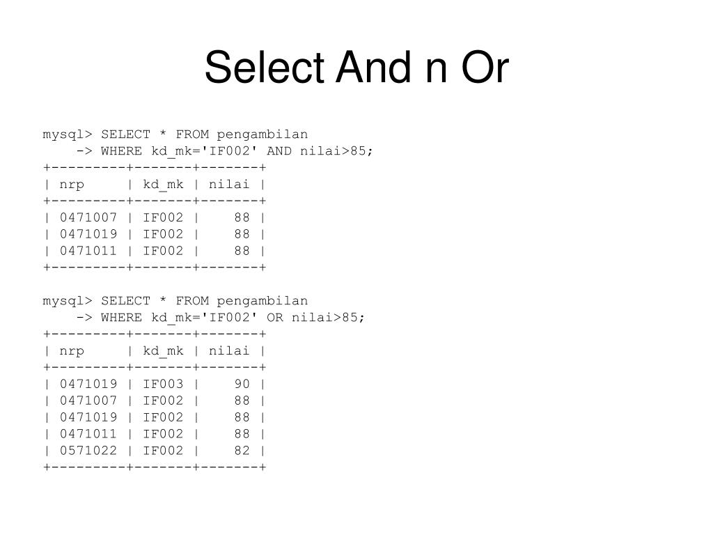Select And n Or