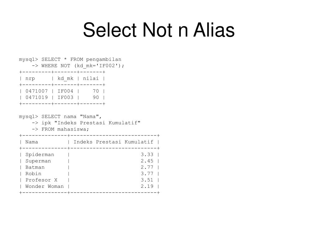 Select Not n Alias
