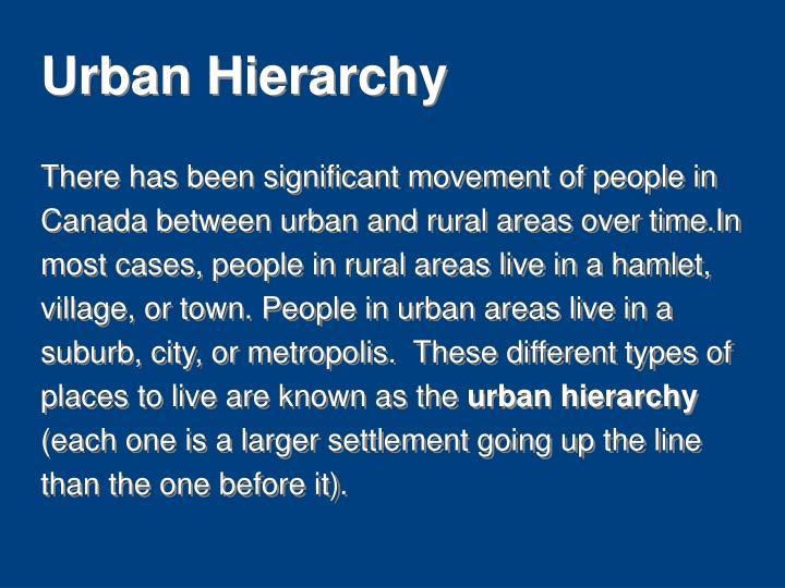 Urban Hierarchy