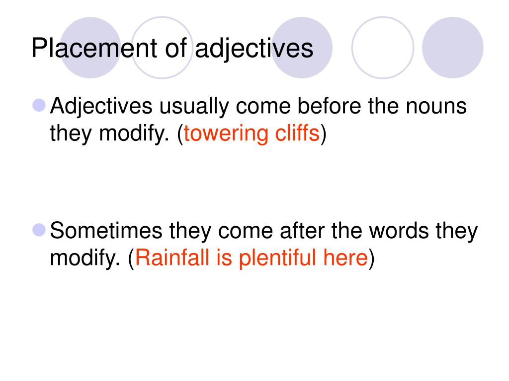 Placement of adjectives