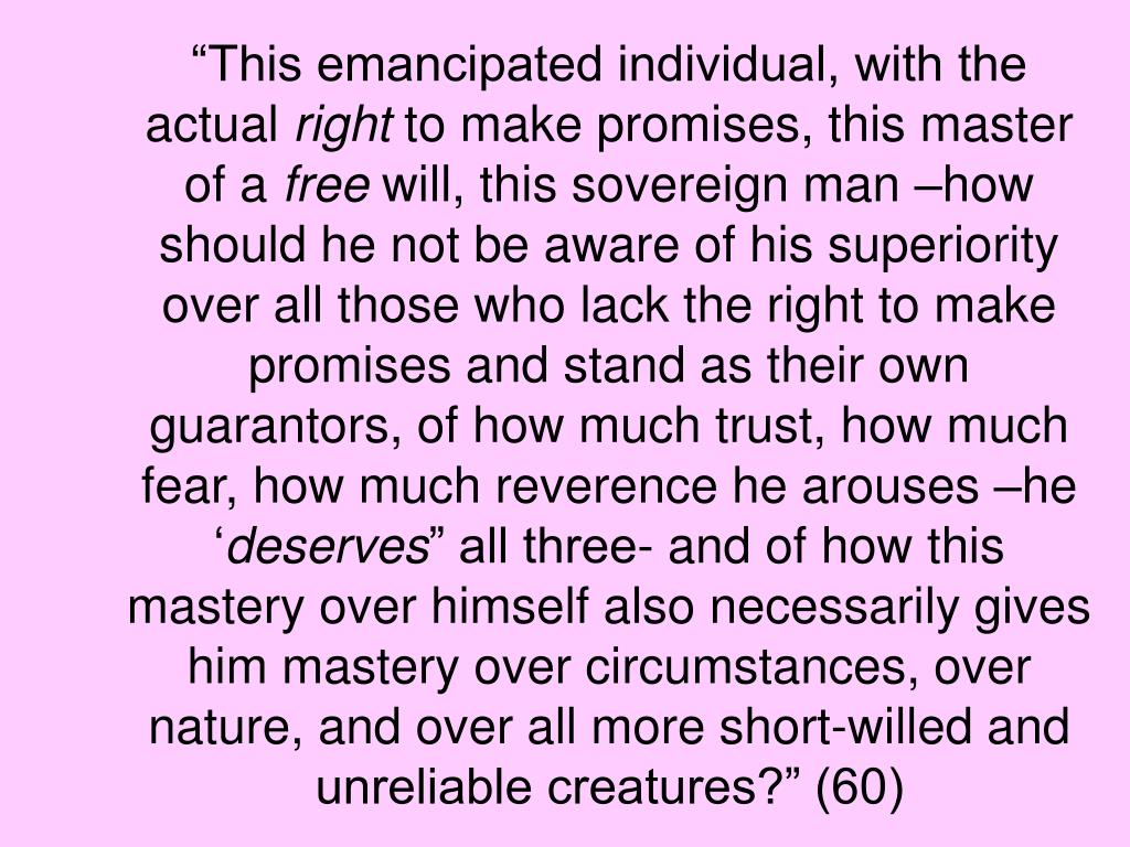 """""""This emancipated individual, with the actual"""