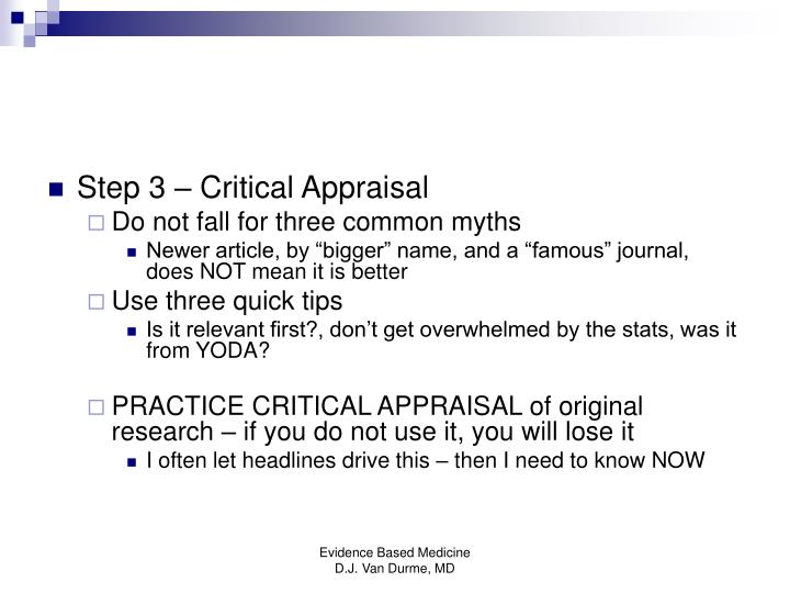 Step 3 – Critical Appraisal