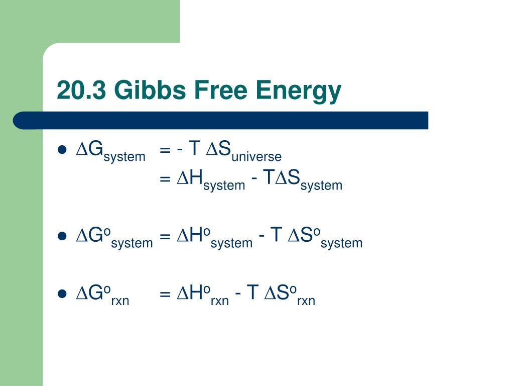20.3 Gibbs Free Energy