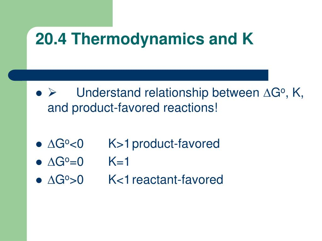 20.4 Thermodynamics and K