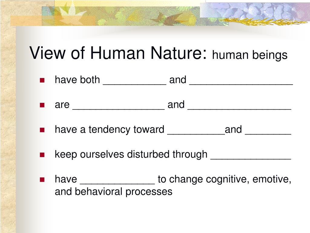 Rebt View Of Human Nature