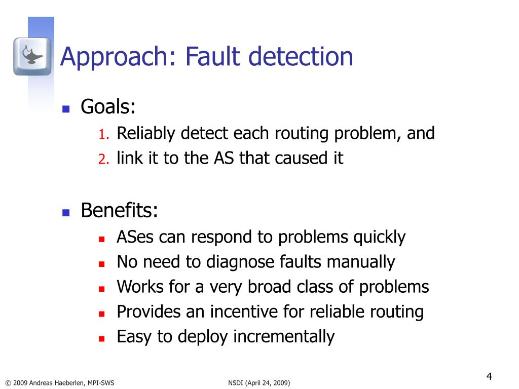 Approach: Fault detection
