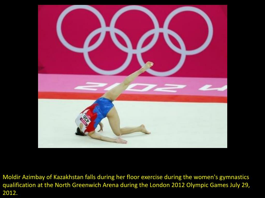 Moldir Azimbay of Kazakhstan falls during her floor exercise during the women's gymnastics qualification at the North Greenwich Arena during the London 2012 Olympic Games July 29, 2012.