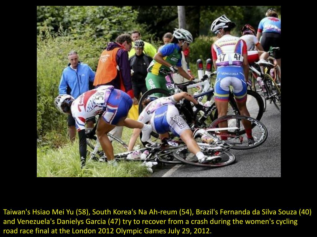 Taiwan's Hsiao Mei Yu (58), South Korea's Na Ah-reum (54), Brazil's Fernanda da Silva Souza (40) and Venezuela's Danielys Garcia (47) try to recover from a crash during the women's cycling road race final at the London 2012 Olympic Games July 29, 2012.