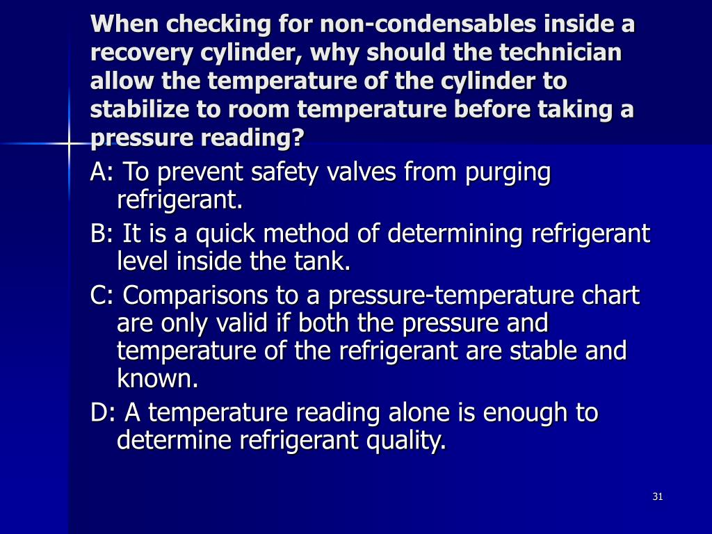 When checking for non-condensables inside a recovery cylinder, why should the technician allow the temperature of the cylinder to stabilize to room temperature before taking a pressure reading?