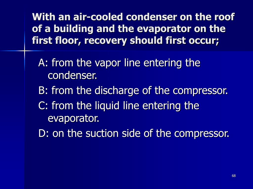 With an air-cooled condenser on the roof of a building and the evaporator on the first floor, recovery should first occur;