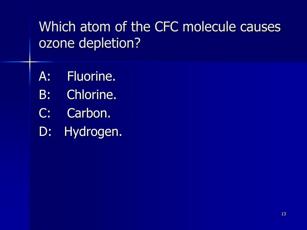 Which atom of the CFC molecule causes ozone depletion?