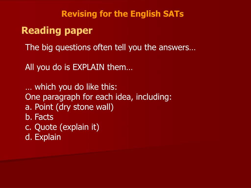 Revising for the English SATs