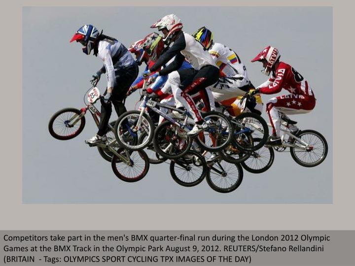 Competitors take part in the men's BMX quarter-final run during the London 2012 Olympic Games at the...