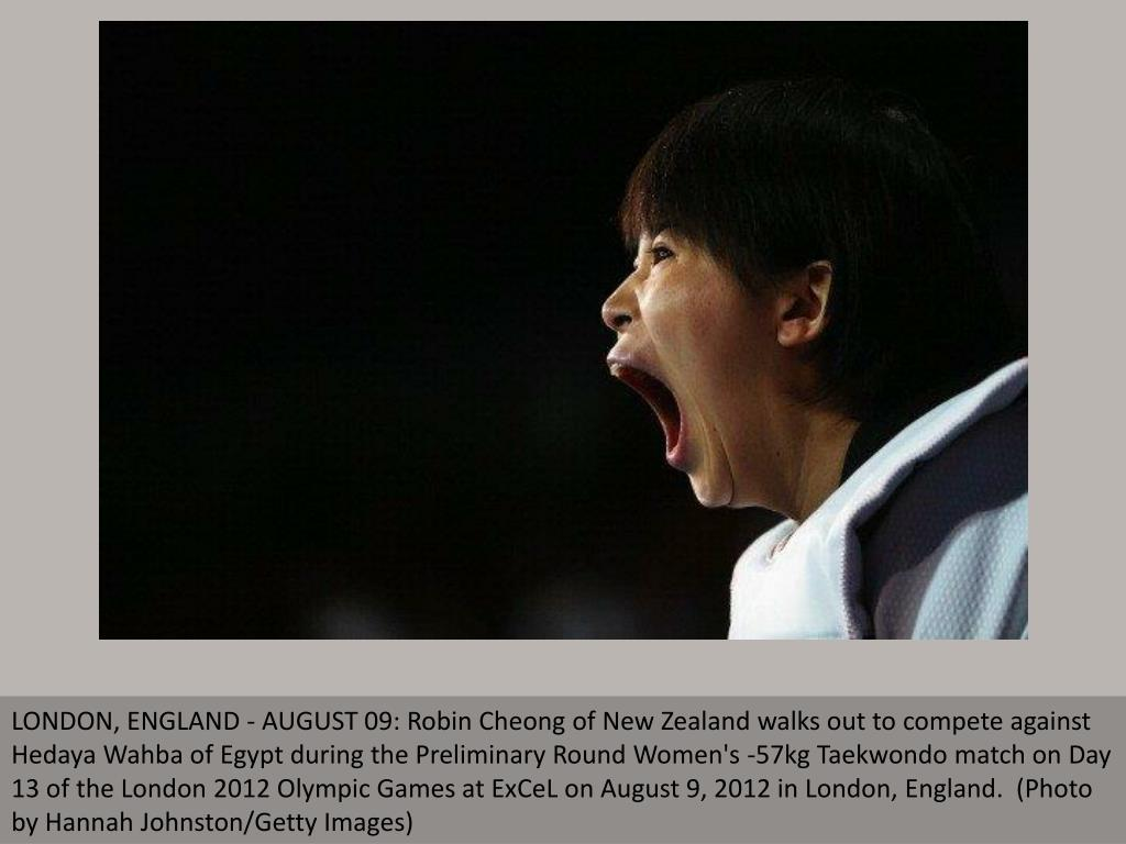 LONDON, ENGLAND - AUGUST 09: Robin Cheong of New Zealand walks out to compete against Hedaya Wahba of Egypt during the Preliminary Round Women's -57kg Taekwondo match on Day 13 of the London 2012 Olympic Games at ExCeL on August 9, 2012 in London, England.  (Photo by Hannah Johnston/Getty Images)