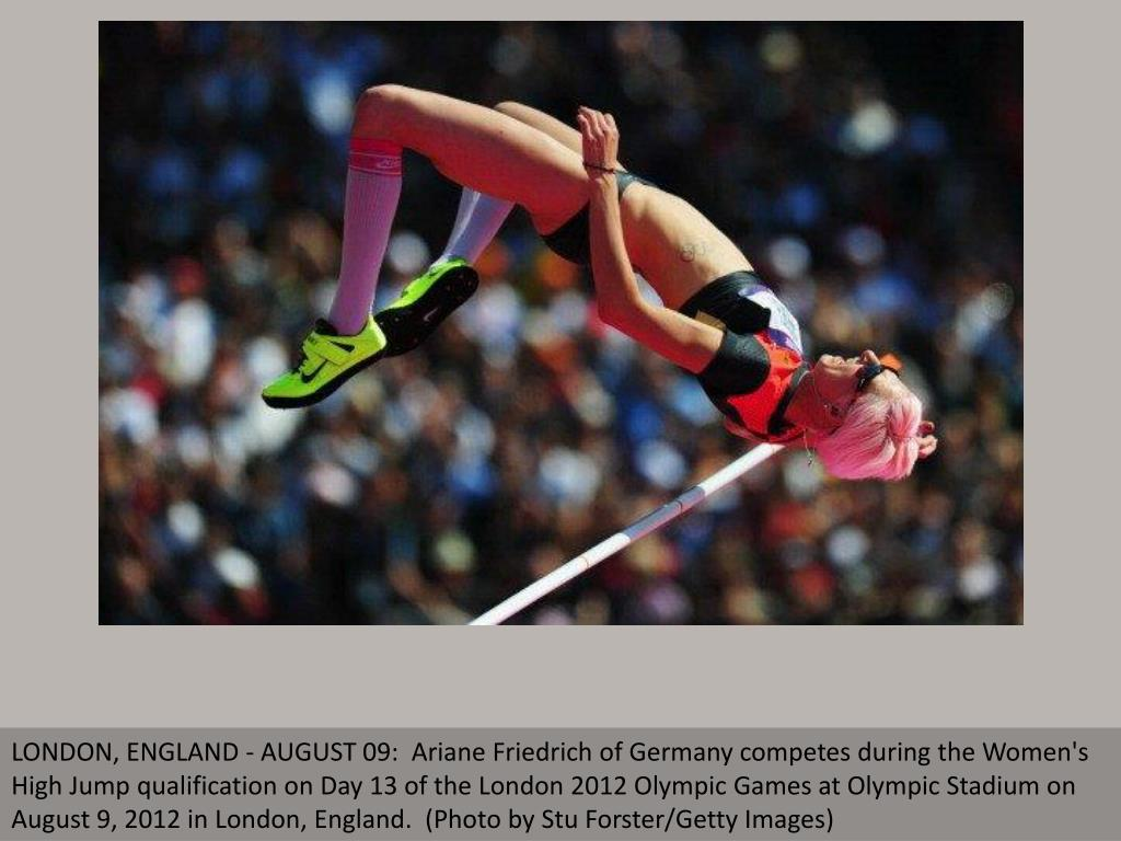 LONDON, ENGLAND - AUGUST 09:  Ariane Friedrich of Germany competes during the Women's High Jump qualification on Day 13 of the London 2012 Olympic Games at Olympic Stadium on August 9, 2012 in London, England.  (Photo by Stu Forster/Getty Images)
