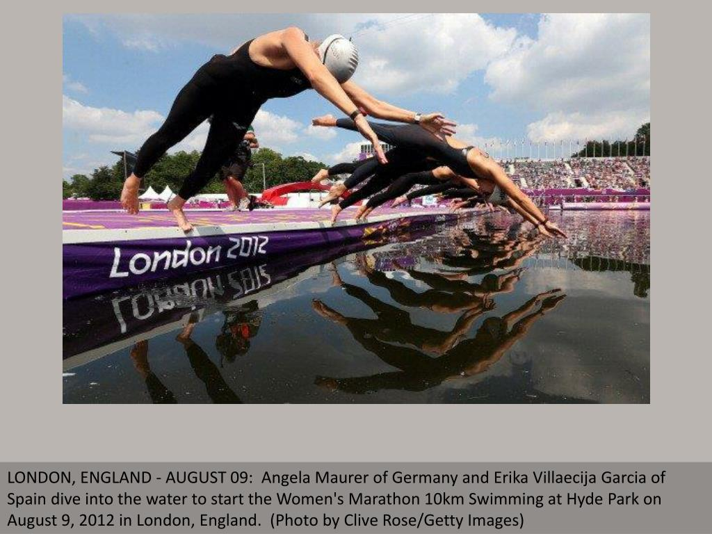 LONDON, ENGLAND - AUGUST 09:  Angela Maurer of Germany and Erika Villaecija Garcia of Spain dive into the water to start the Women's Marathon 10km Swimming at Hyde Park on August 9, 2012 in London, England.  (Photo by Clive Rose/Getty Images)