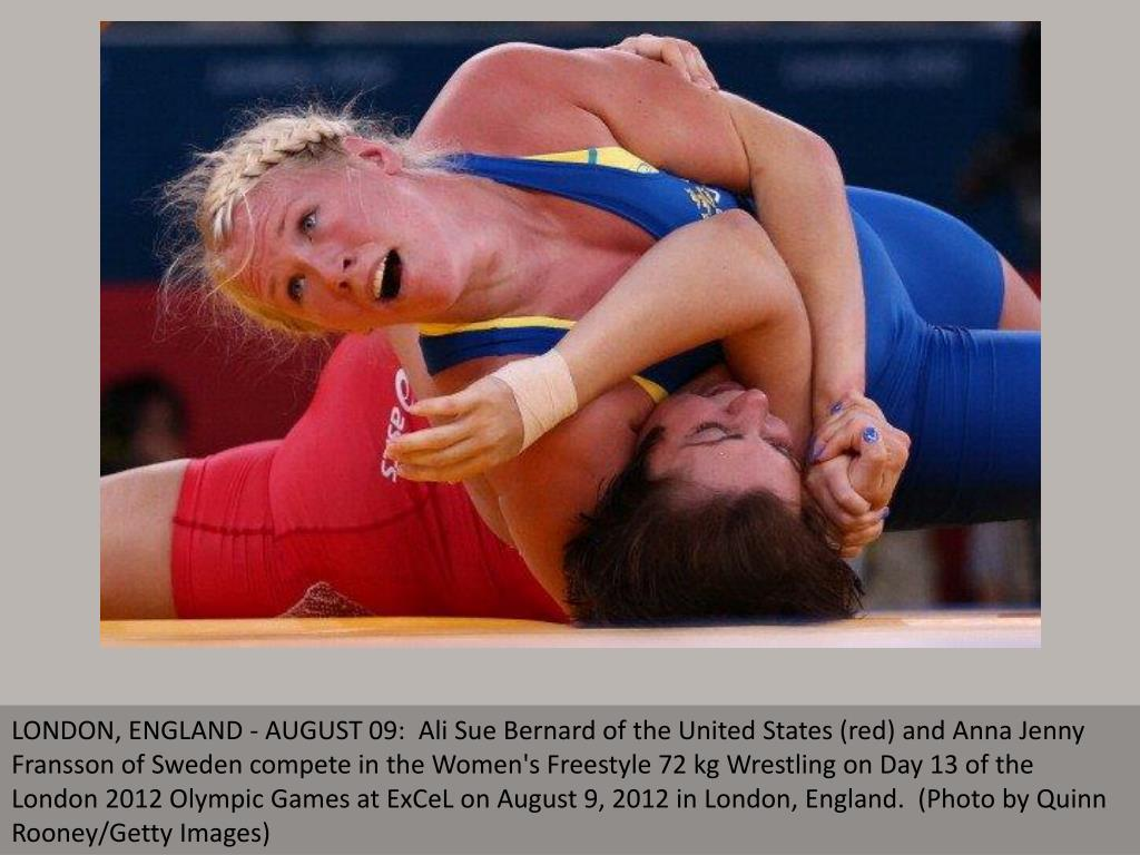 LONDON, ENGLAND - AUGUST 09:  Ali Sue Bernard of the United States (red) and Anna Jenny Fransson of Sweden compete in the Women's Freestyle 72 kg Wrestling on Day 13 of the London 2012 Olympic Games at ExCeL on August 9, 2012 in London, England.  (Photo by Quinn Rooney/Getty Images)