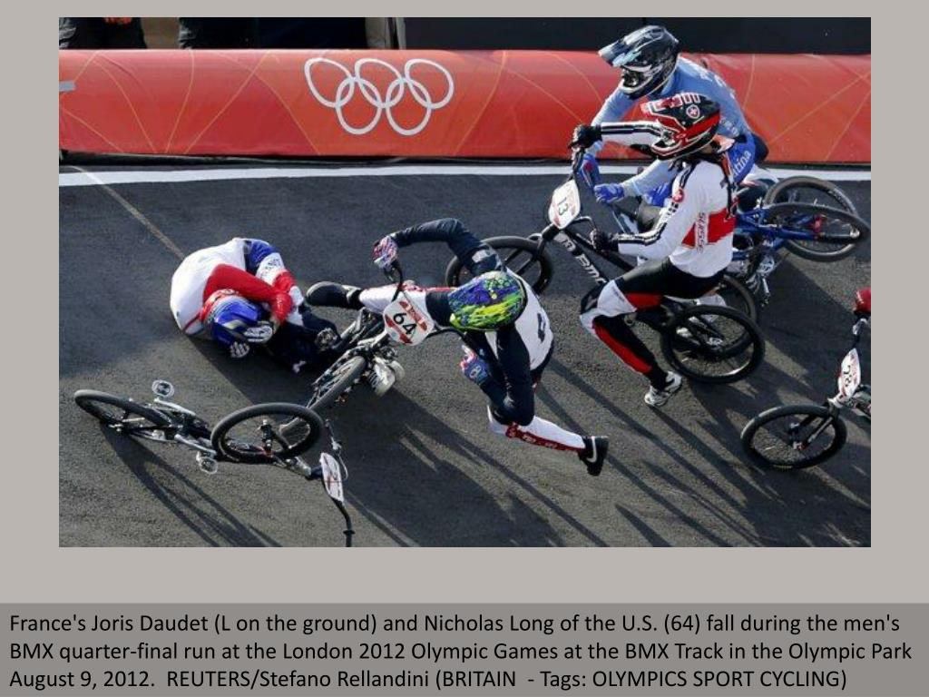 France's Joris Daudet (L on the ground) and Nicholas Long of the U.S. (64) fall during the men's BMX quarter-final run at the London 2012 Olympic Games at the BMX Track in the Olympic Park August 9, 2012.  REUTERS/Stefano Rellandini (BRITAIN  - Tags: OLYMPICS SPORT CYCLING)