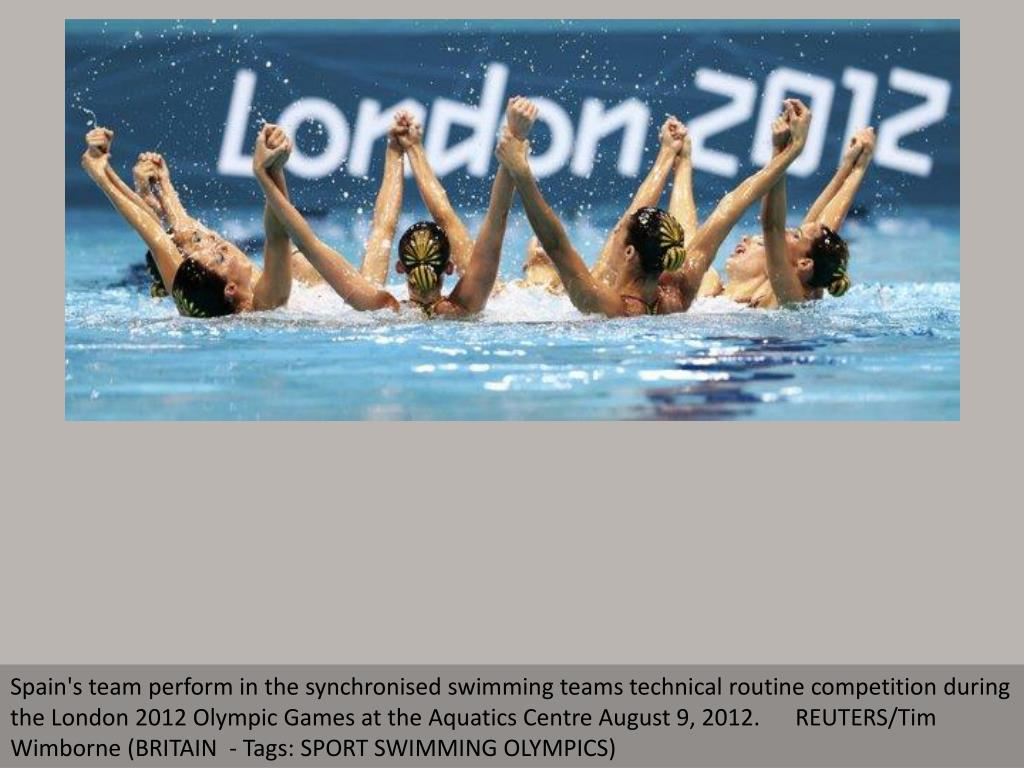 Spain's team perform in the synchronised swimming teams technical routine competition during the London 2012 Olympic Games at the Aquatics Centre August 9, 2012.      REUTERS/Tim Wimborne (BRITAIN  - Tags: SPORT SWIMMING OLYMPICS)