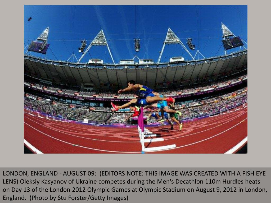 LONDON, ENGLAND - AUGUST 09:  (EDITORS NOTE: THIS IMAGE WAS CREATED WITH A FISH EYE LENS) Oleksiy Kasyanov of Ukraine competes during the Men's Decathlon 110m Hurdles heats on Day 13 of the London 2012 Olympic Games at Olympic Stadium on August 9, 2012 in London, England.  (Photo by Stu Forster/Getty Images)